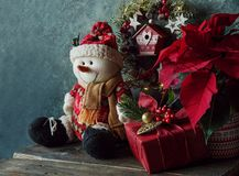 Christmas decorations with snowman. Christmas decorations and gifts at home royalty free stock photography