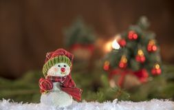 Christmas decorations. Snowman with Christmas tree in the background royalty free stock photo