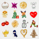 Christmas decorations on snowy background Royalty Free Stock Images