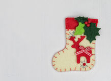 Christmas decorations and sock on white background Stock Photography
