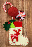 Christmas decorations and sock Stock Images