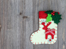 Christmas decorations and sock on wood background. Beautiful Chr Royalty Free Stock Images