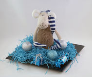 Christmas decorations and soft toy sheep mascot of the coming of the new year Stock Photos
