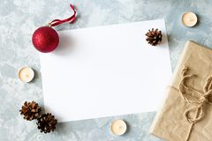 Christmas decorations with space for text. stock photo
