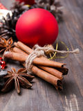Christmas decorations and spices Royalty Free Stock Photography