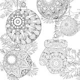 Zentangle stylized Christmas decorations. Christmas decorations with spruce branches zentangle styled with clean lines for coloring book for anti stress, T vector illustration
