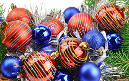 Christmas decorations and spruce twigs Royalty Free Stock Photo