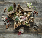 Christmas decorations in a star shaped box Stock Images