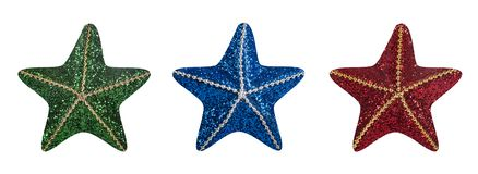 Star Christmas decorations on white background royalty free stock photo