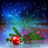 Christmas decorations and starry background. Christmas decorations with fir or spruce cones and twigs on a starry background stock illustration