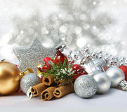 Christmas decorations on a starry background Royalty Free Stock Photo