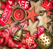 Christmas decorations stars, advent calendar and burning candle Royalty Free Stock Image