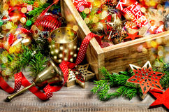 Christmas decorations stars, color lights, candles, ornaments Stock Photography