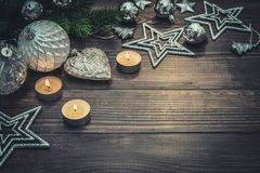 Christmas decorations with candles Royalty Free Stock Photos