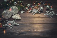 Christmas decorations with christmas lights Royalty Free Stock Photography
