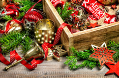 Christmas decorations with stars, lights, candles, toys and orna Royalty Free Stock Photos