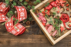 Christmas decorations stars and red ribbons with christmas tree Royalty Free Stock Photo