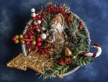 Christmas still life decorations background royalty free stock photos
