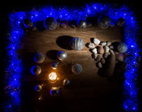 Christmas decorations with stones and magic light Stock Image