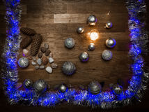 Christmas decorations with stones and magic light Royalty Free Stock Photo