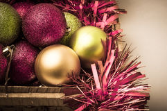 Christmas Decorations in Storage Basket Stock Photography