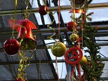 Christmas decorations in the store royalty free stock photography