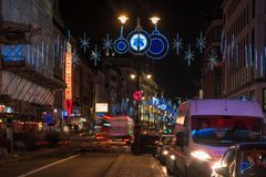 Christmas decorations on The Strand, London UK Royalty Free Stock Images