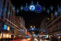 Christmas decorations on The Strand, London UK Royalty Free Stock Photos