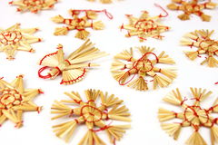Christmas decorations from straw Royalty Free Stock Images