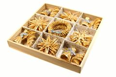 Christmas decorations - straw toys stock photography