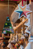 Christmas decorations at street market Royalty Free Stock Images