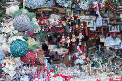 Christmas decorations at street market Royalty Free Stock Photography