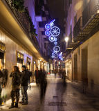 Christmas decorations on  streets. Barcelona Royalty Free Stock Photo