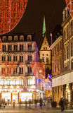 Christmas decorations on streets of Strasbourg Stock Photography