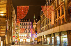 Christmas decorations on streets of Strasbourg Stock Image