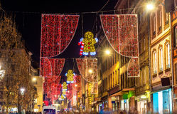 Christmas decorations on streets of Strasbourg. France Stock Image