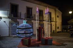 Christmas decorations the streets of the village of Vila Nova de Cerveira stock images