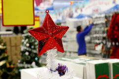 Christmas decorations in supermarket stock image