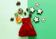 Christmas decorations. Sweets and ornaments. Royalty Free Stock Photos