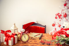 Christmas decorations on table Royalty Free Stock Image