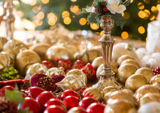 Christmas decorations on table Royalty Free Stock Photo