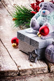 Christmas decorations with teddy bear Royalty Free Stock Photo