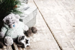 Christmas decorations with teddy bear Royalty Free Stock Images