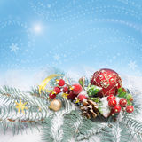 Christmas decorations, text space Royalty Free Stock Images