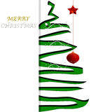 Christmas decorations. Ticket of native with tree to green spiral and decorations Royalty Free Stock Photo