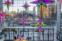 Christmas Decorations at Time Warner Center with Columbus Circle in Background. New York, USA - December 27, 2014: Columbus Circle from Time Warner Center with royalty free stock photos