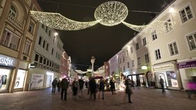Christmas decorations. Timelapse of the Christmas decorations in the main street in Villach, Austria stock video