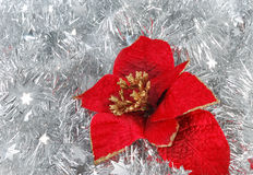 Christmas decorations on tinsel Royalty Free Stock Image
