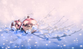 Christmas decorations, toned image, text space Stock Photography