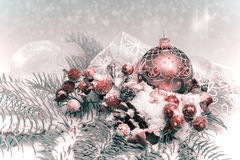 Christmas decorations, toned image Royalty Free Stock Photos
